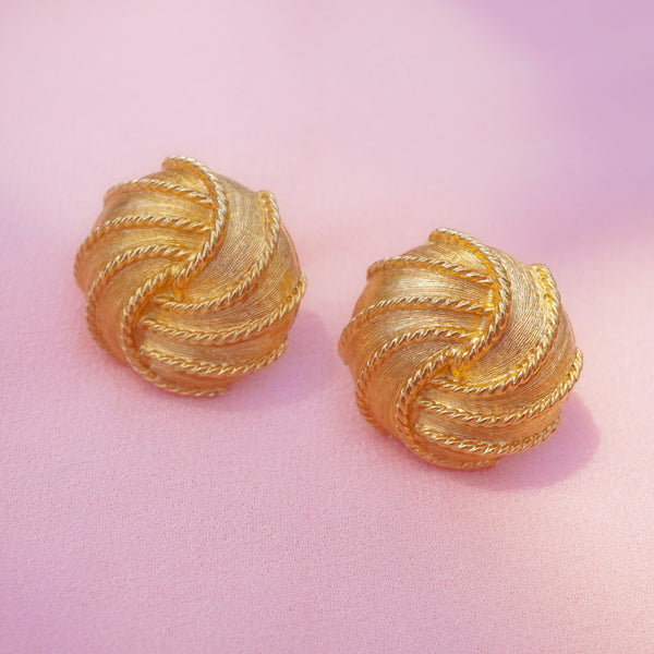 Vintage Gilded Knot Button Earrings by Napier, 1960s