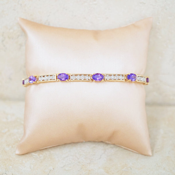10k Gold Tennis Bracelet with Amethysts & Diamonds