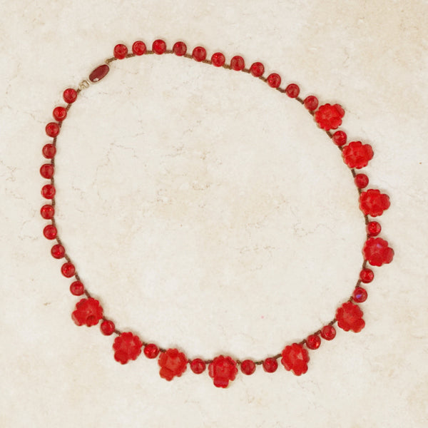 Antique Czech Glass Red Rose Necklace, c 1920