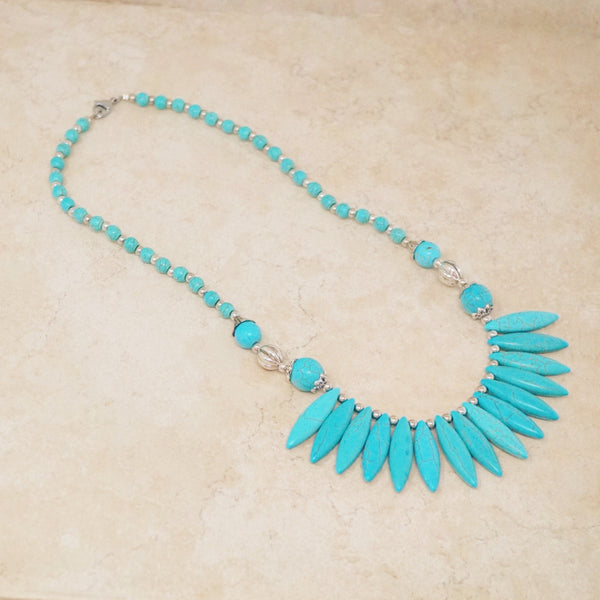 Spiked Turquoise Statement Necklace