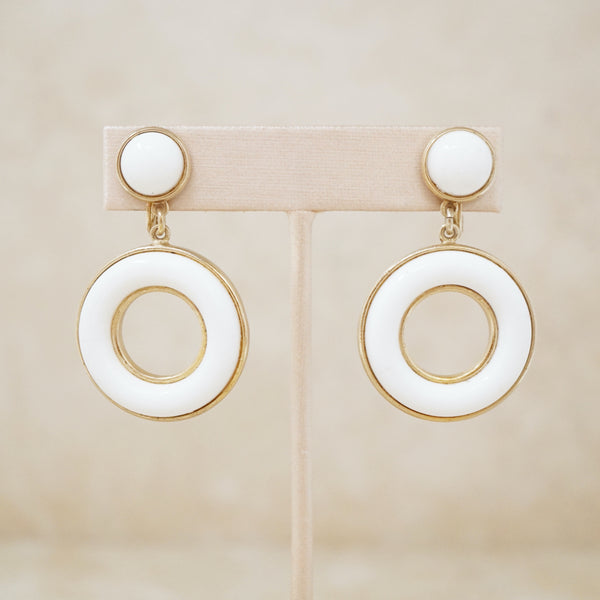 Vintage Rare White & Gold Knocker Hoop Earrings by Monet, 1950s