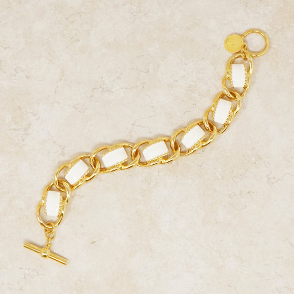 Vintage Gilt & Cream Enamel Heavy Chain Bracelet by Anne Klein, 1980s