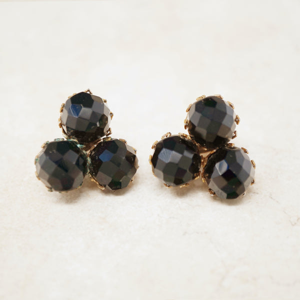 Vintage Prong Set Faceted Onyx Trio Earrings, 1970s