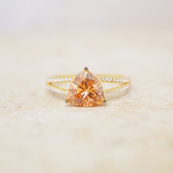 Gold Vermeil & Peach Crystal Ring
