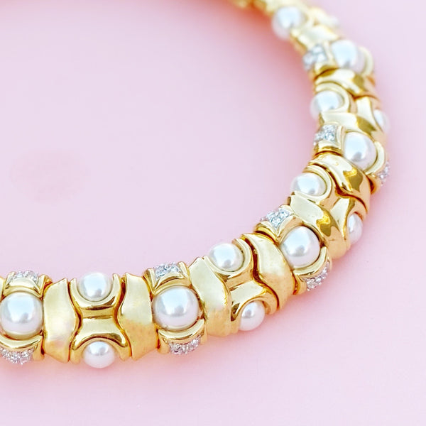 Vintage Gilded Articulating Choker Necklace with Faux Pearls & Rhinestones, 1980s