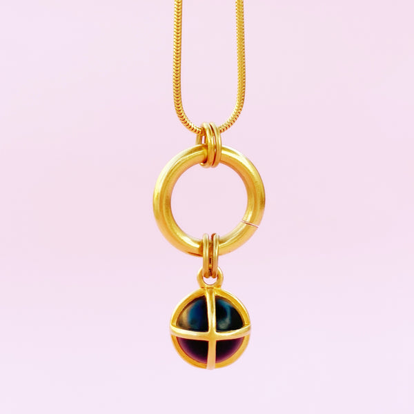 Vintage Black & Gold Caged Sphere Pendant Necklace By Anne Klein, 1980s
