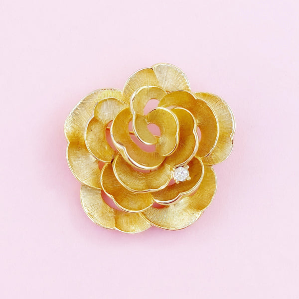 Vintage Gilded Openwork Rose Flower Figural Brooch With Crystal Accent By Marcel Boucher, 1960s
