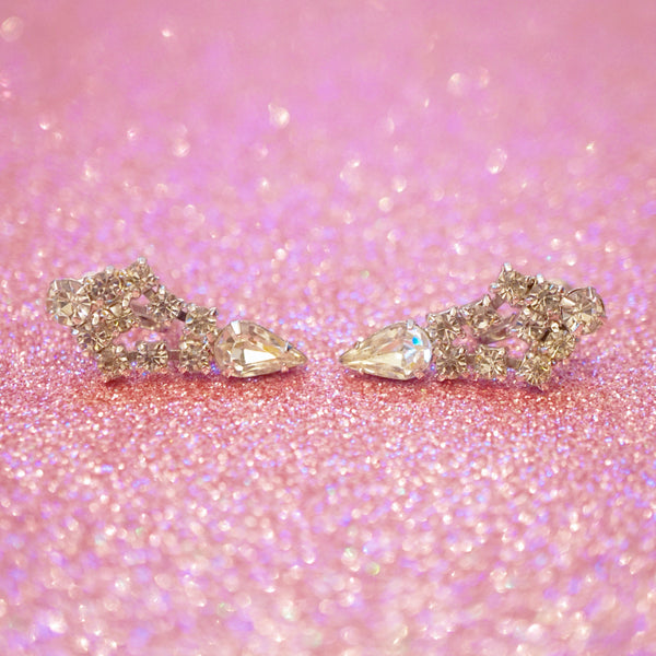 "Vintage Swarovski Rhinestone ""Look of Fine Jewelry""  Earrings, 1950s"