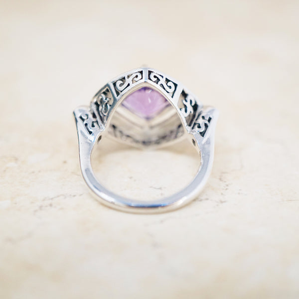 Sterling Silver, Amethyst & Marcasite Ring