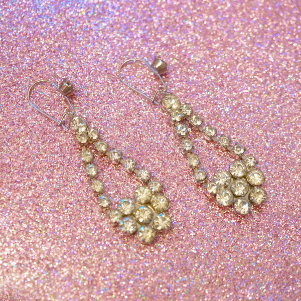 Vintage Rhinestone Chandelier Earrings, 1950s