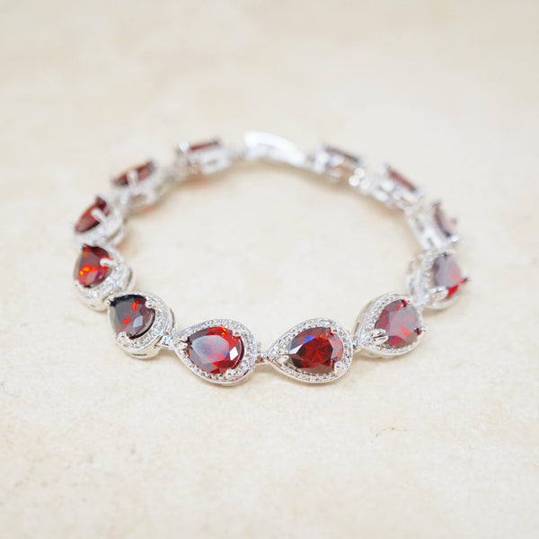 Ruby Crystal Tennis Bracelet
