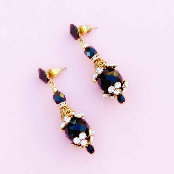 Vintage Baroque Onyx Dangle Earrings with Crystal Rhinestone Accents, 1980s