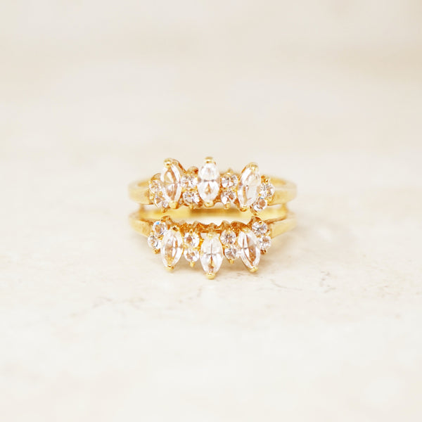 Vintage Gilded Marquise Crystal Two Row Ring (Size 11), 1990s