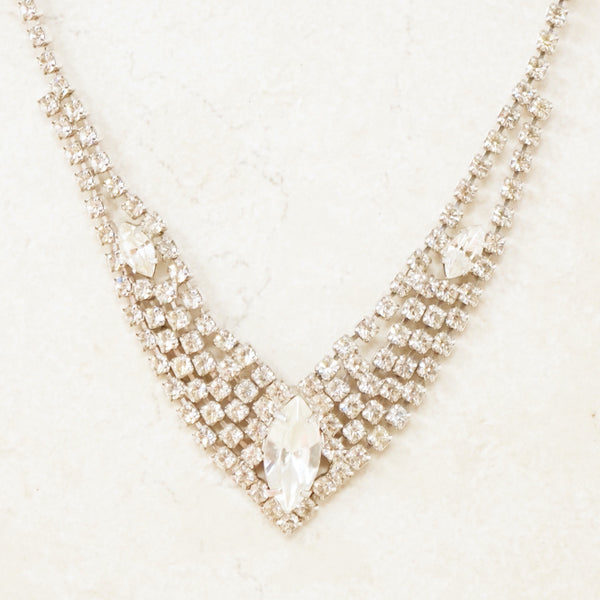 Vintage Crystal Rhinestone Pointed Cocktail Necklace, 1950s