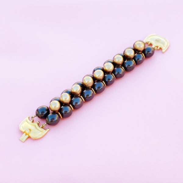 Vintage Beaded Faux Pearl Mohawk Statement Bracelet by Karl Lagerfeld, 1980s