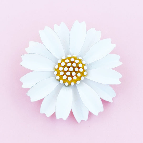 Vintage White Enamel Daisy Flower Figural Brooch By Crown Trifari, 1960s