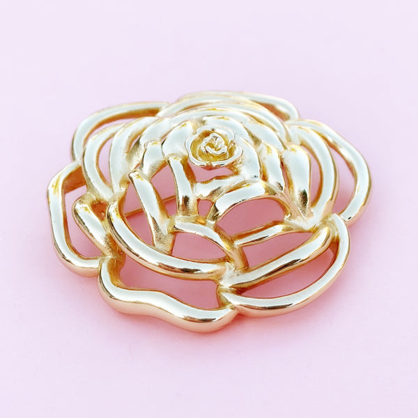 Vintage Gilded Oversized Openwork Rose Brooch by Christian Dior, 1970s
