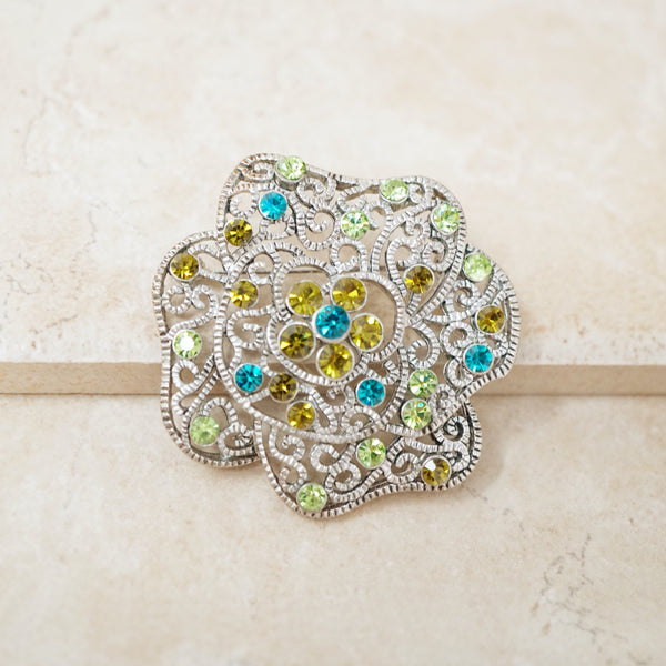 Vintage Silver Flower Brooch with Colorful Rhinestones, 1990s