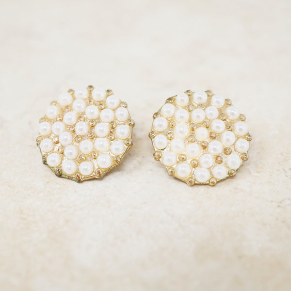 Vintage Pearl Pavé Disc Earrings, 1960s