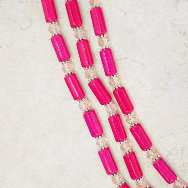 Hot Pink Howlite Statement Necklace