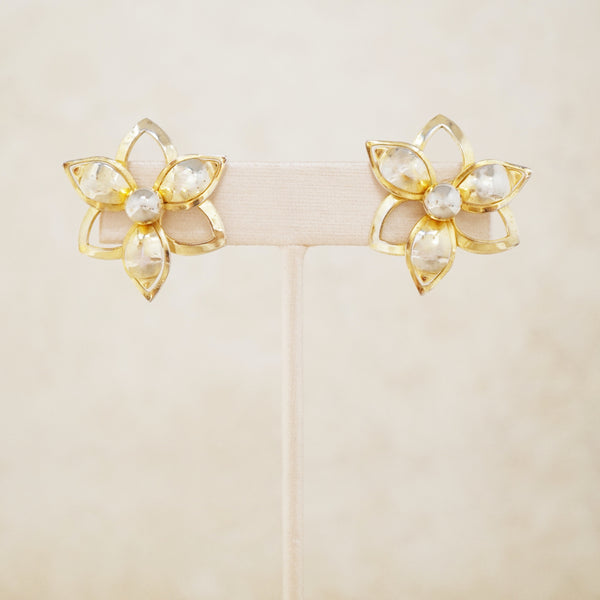 Vintage Gilded Flower Earrings by Sarah Coventry, 1960s