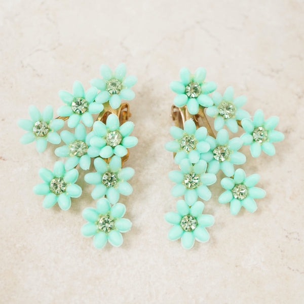 Vintage Mint Green Plastic Flower Climber Statement Earrings, 1960s