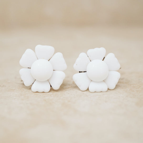 Vintage Milk Glass Flower Earrings, 1950s