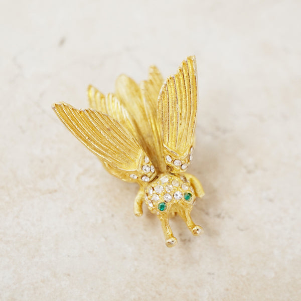 Vintage Gilded Flying Insect Trembler Brooch Attributed to Hattie Carnegie, 1960s