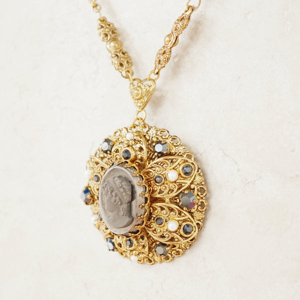 Vintage Ornate Gilded Victorian Revival Cameo Pendant Necklace, 1960s