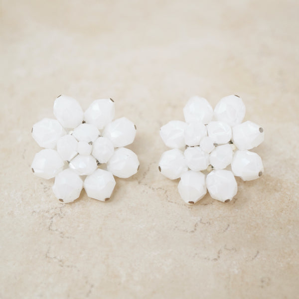 Vintage White Faceted Flower Cluster Earrings, 1950s