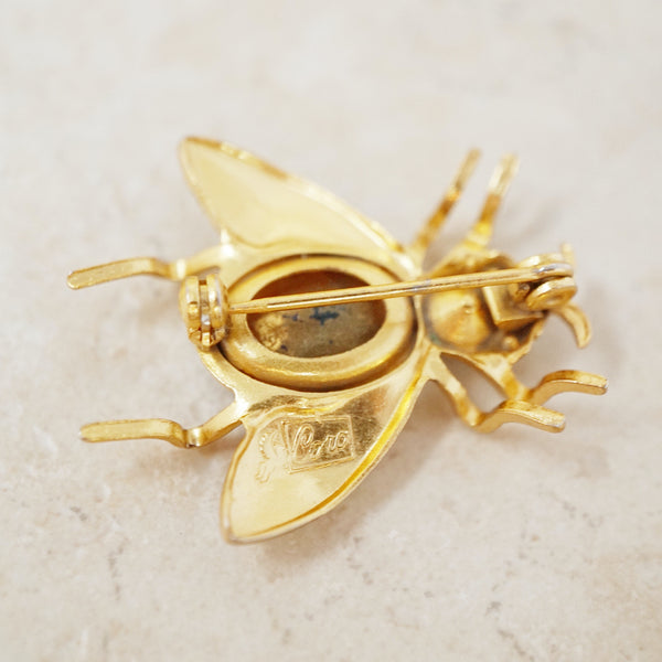 Vintage Gilded Flying Bug Brooch with Blue Crystals by Coro, 1950s