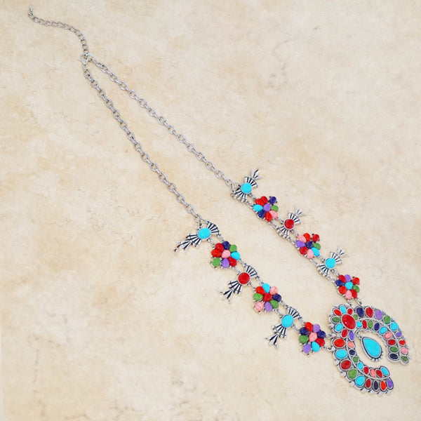 Squash Blossom Necklace with Turquoise and Multicolored Howlite