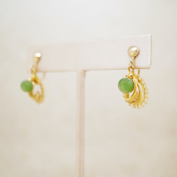 Vintage 12k Gold Filled Jade Gemstone Dangle Earrings, 1970s