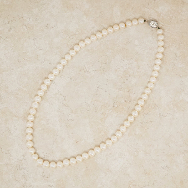 "Vintage 21"" Pearl Necklace with Sterling Silver & Rhinestone Clasp, 1950s"
