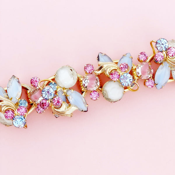 Vintage Pastel Pink & Baby Blue Givre Glass & Rhinestone Juliana Bracelet By DeLizza & Elster, 1960s