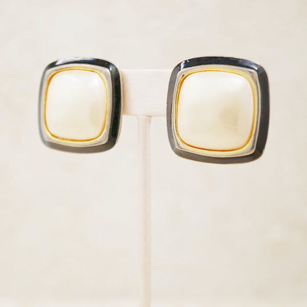 Vintage Oversized Puffy Faux Pearl & Black Enamel Pillow Earrings by Carolee, 1980s