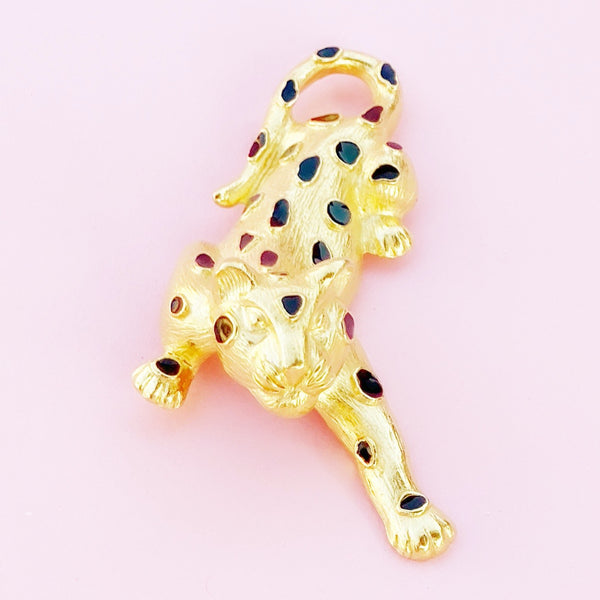 Vintage Gilded Leopard Figural Brooch with Black Enamel Detail By Trifari, 1980s