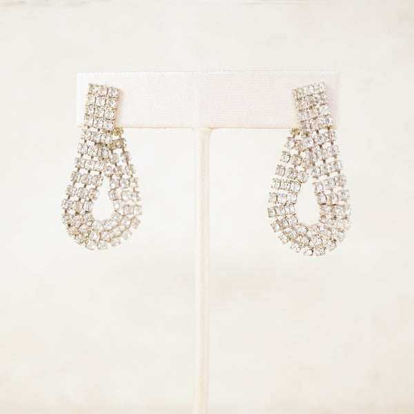 Vintage Crystal Rhinestone Teardrop Cocktail Earrings, 1950s