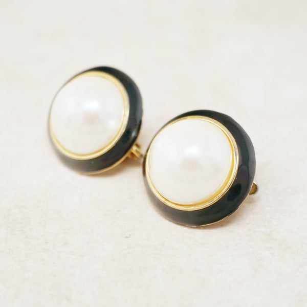 Vintage Faux Pearl & Enamel Button Earrings, 1980s