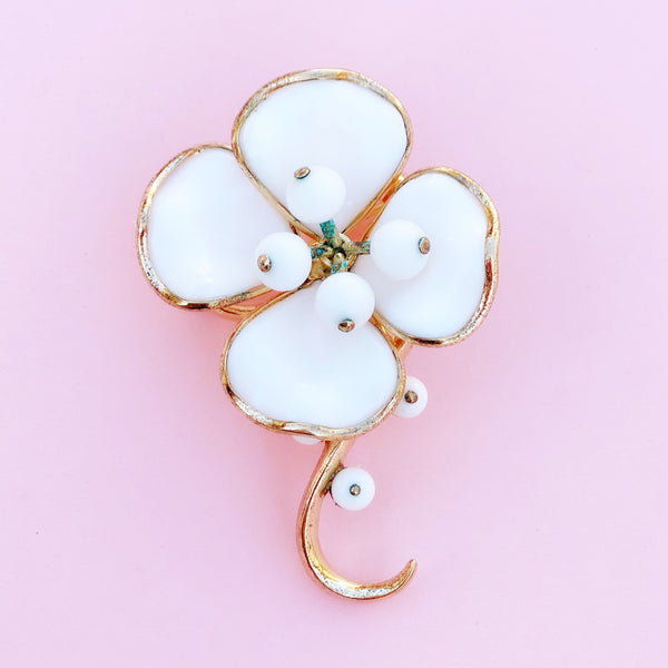 Vintage Molded Milk Glass Magnolia Flower Brooch by Alfred Philippe for Crown Trifari, 1950s