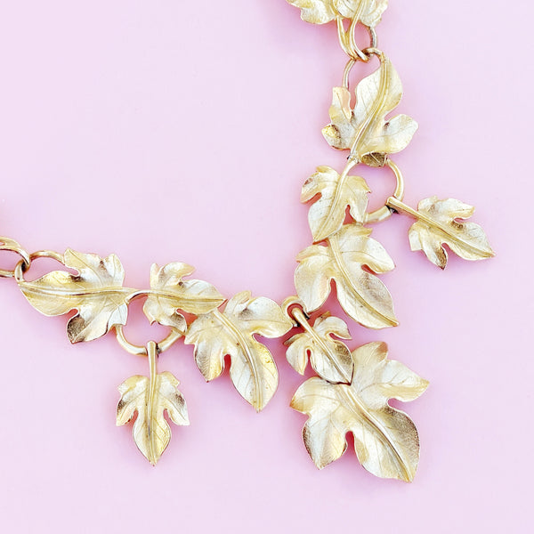 Vintage Gilded Leaves Statement Choker Necklace By Kunio Matsumoto For Trifari, 1970s