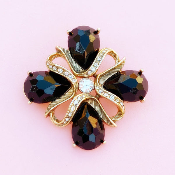 Vintage Faceted Onyx Cabochon Brooch with Crystal Accents, 1980s