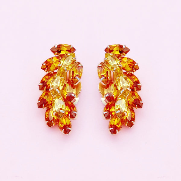 Vintage Topaz & Citrine Crystal Rhinestone Juliana-Style Climber Earrings, 1960s