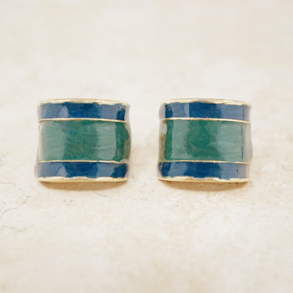 Vintage Navy & Forest Green Enameled Chunky Half Hoop Earrings, 1980s