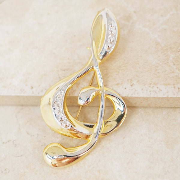 Vintage Treble Clef Music Note Brooch