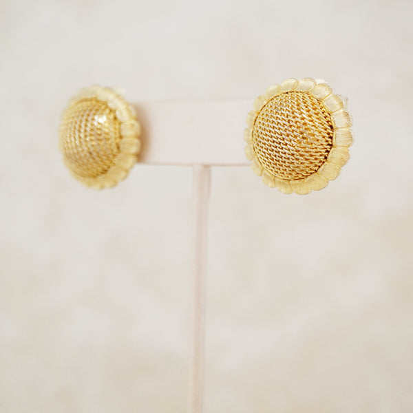 Vintage Gilded Mesh Dome Button Earrings, 1960s