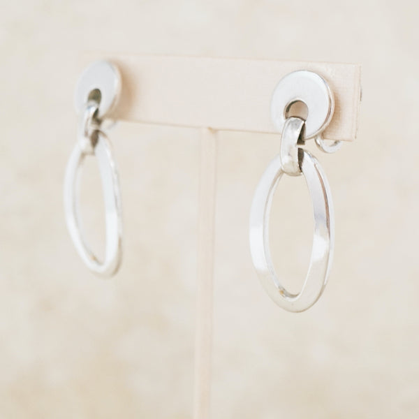 Vintage Silver 1960s Door Knocker Hoop Earrings