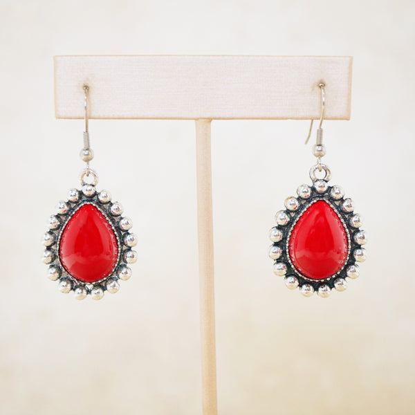 Red Howlite Statement Earrings