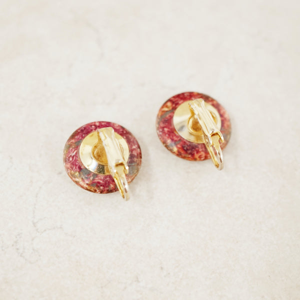 Vintage Glazed Ceramic Button Earrings
