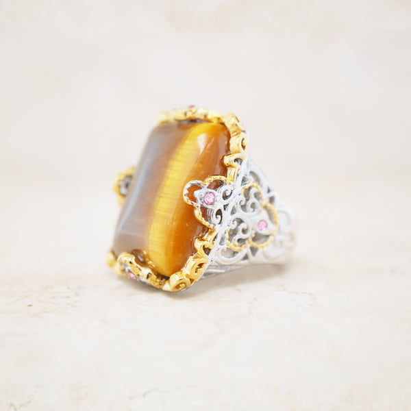 Ornate Tiger's Eye Cocktail Ring